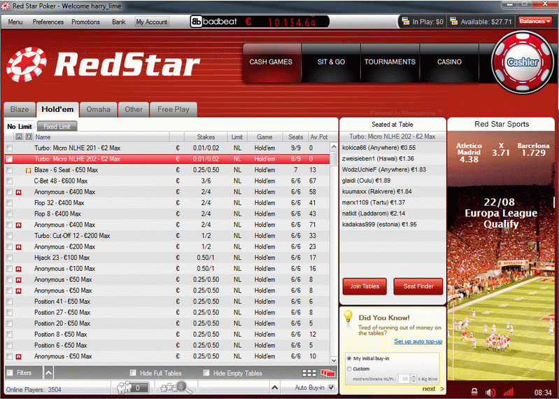 Red Star Poker Review Lobby